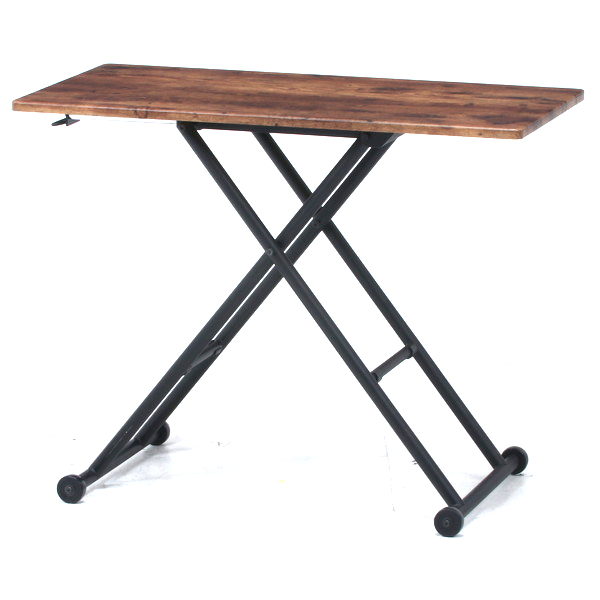 ソファーテーブル サイドテーブル パソコンデスク コーヒーテーブル ティーテーブル ベッドサイドテーブル ナイトテーブル 軽量 コンパクト 小型 小さい 小さめ 小 ミニ 一人暮らし ワンルーム ブラウン×ブラック 幅90 奥行48 高さ120~70