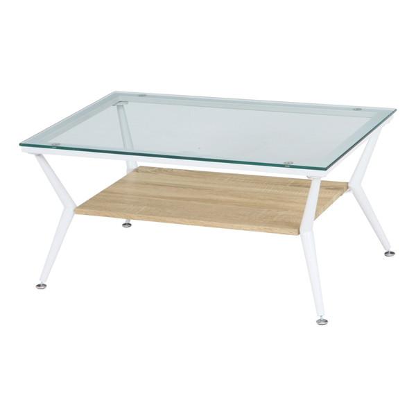 センターテーブル ローテーブル おしゃれ 北欧 木製 リビングテーブル コーヒーテーブル 応接テーブル デスク 机 ナチュラル×ホワイト 幅80 奥行52 高さ38