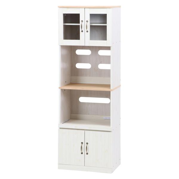食器棚 おしゃれ 北欧 安い キッチン 収納 棚 ラック 木製 大容量 カップボード ダイニングボード ナチュラル×ホワイト 幅59 奥行42 高さ180