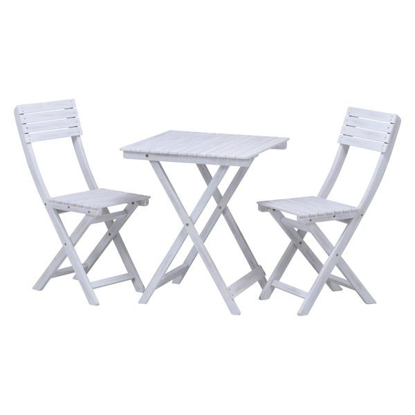 ガーデンテーブル + ガーデンチェア 椅子 セット 屋外 カフェ テラス ガーデン 庭 ベランダ バルコニー アジアン ホワイト