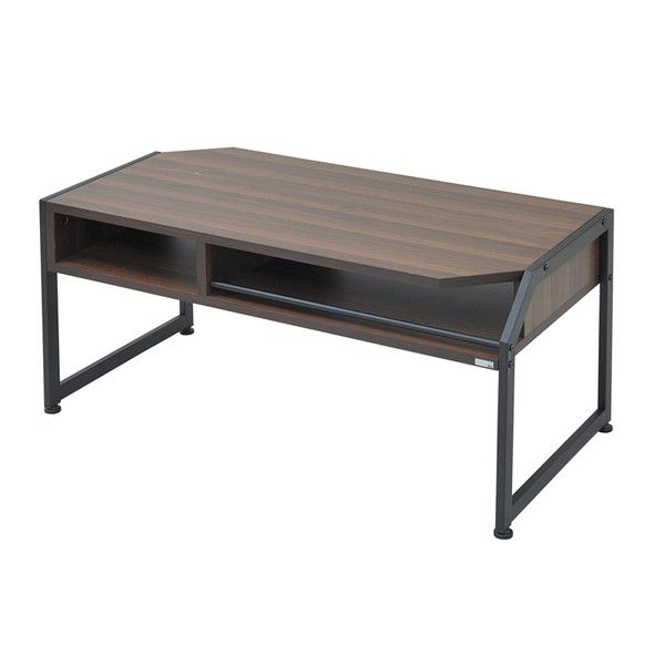 センターテーブル 幅90 ローテーブル テーブル リビングテーブル コーヒーテーブル 応接テーブル デスク 机 文机 木製テーブル 棚 収納 リモコン収納 スチール 木製 【ブラック 黒 ウォールナット】