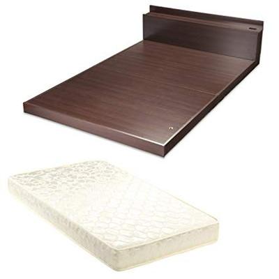 ダブルベッド ローベッド ダブル ポケットコイルマットレスセット マットレス 付き 木製 ( ベッド 低い 低いベッド 低いベット )