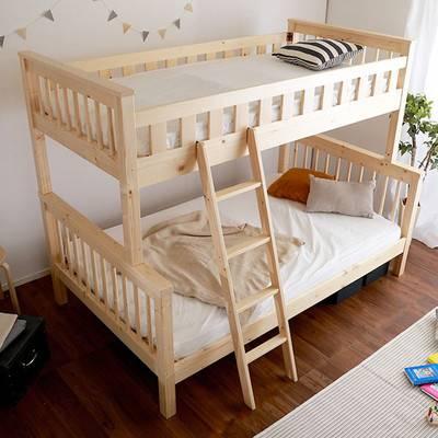 ツインベッド 低い二段ベッド 親子ベッド 木製 丈夫 頑丈 シングル + セミダブル キッズ 子供 子供部屋 二段ベッド 2段ベッド システムベッド ベッド