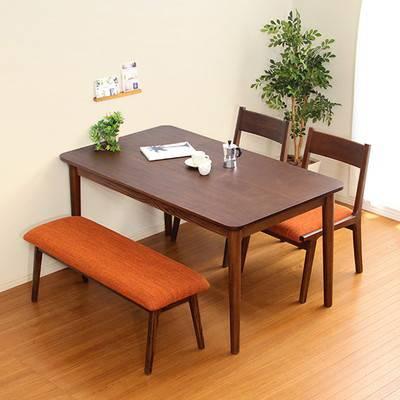 ダイニングテーブルセット ダイニングセット おしゃれ 安い 北欧 食卓 4人用 四人用 3人 130×75 椅子 2脚 ベンチ 1脚 ブラウン カントリー