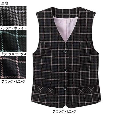 事務服・制服・オフィスウェア ヌーヴォ FV363E ベスト 13号・ブラック×ピンク2