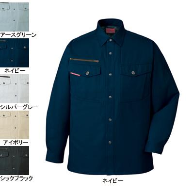自重堂 80204 ストレッチ長袖シャツ(年間定番生地使用) チノクロス(綿100%) ストレッチ 防縮防シワ加工