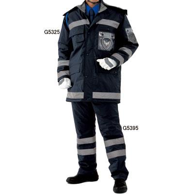 G-best G5325 防水防寒コート 表:ナイロン(PVCコーティング・反射テープ付) 裏:起毛トリコット 表:ナイロン100% 中綿:ポリエステル100% 裏:ポリエステル100% 耐水圧10,000mm以上