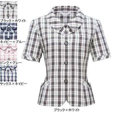 事務服・制服・オフィスウェア ピエ L5700-01 オーバーブラウス 9号・ブラック×ホワイト