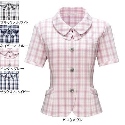 事務服・制服・オフィスウェア ピエ L5700-38 オーバーブラウス 11号・ピンク×グレー