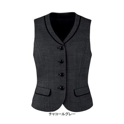 事務服・制服・オフィスウェア ピエ V0311-97 ベスト(4ツボタン) 11号・チャコールグレー
