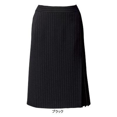 事務服・制服・オフィスウェア ピエ S9421-99 片ヒダダブルプリーツスカート(56cm丈) 19号・ブラック