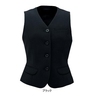 事務服・制服・オフィスウェア ピエ V9570-99 ベスト(ピンクドット) 19号・ブラック