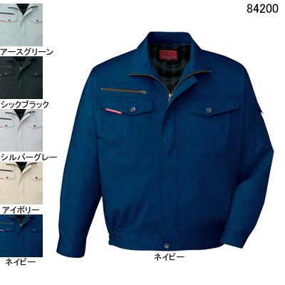 自重堂 84200 ストレッチ長袖ブルゾン サマーツイル(綿100%) ストレッチ 防縮防シワ加工