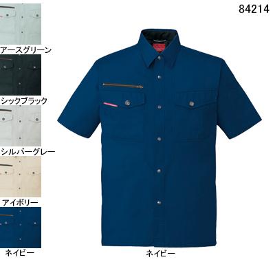 自重堂 84214 ストレッチ半袖シャツ サマーツイル(綿100%) ストレッチ 防縮防シワ加工