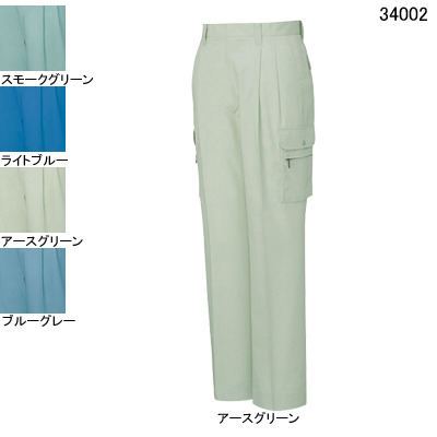作業着 作業服 作業ズボン 自重堂 34002 形態安定ツータックカーゴパンツ W79・アースグリーン039
