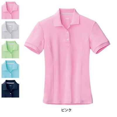 ジーベック 6000 レディス半袖ポロシャツ ディンプルニット ポリエステル100% 吸汗性抜群 速乾性抜群 消臭機能付き 伸縮素材