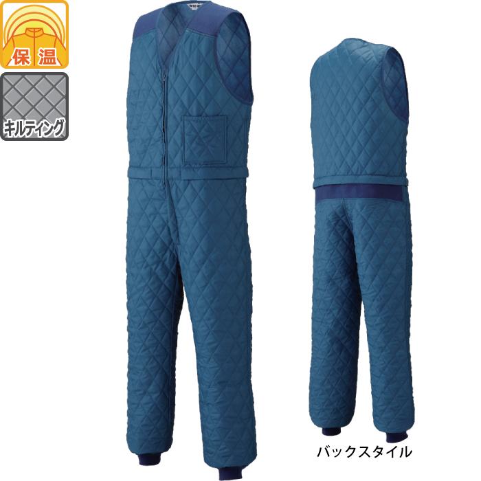 山田辰 6-A-6600(6600) 腰割れ式キルトスーツ 表地:ポリエステル100% 裏地:ナイロン100% 中綿:ポリエステル100% ジャージ:アクリル100%