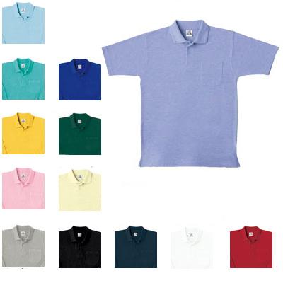 桑和 0027 半袖ポロシャツ(胸ポケット付き) T/C鹿の子 ポリエステル65%・綿35%(5.3oz 180g/m2 コーマ糸 鹿の子) ストレッチ ソフト加工 イージーケア