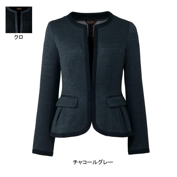 事務服・制服・オフィスウェア ピエ HCJ3621 キテミテ体感ノーカラージャケット 17号~19号