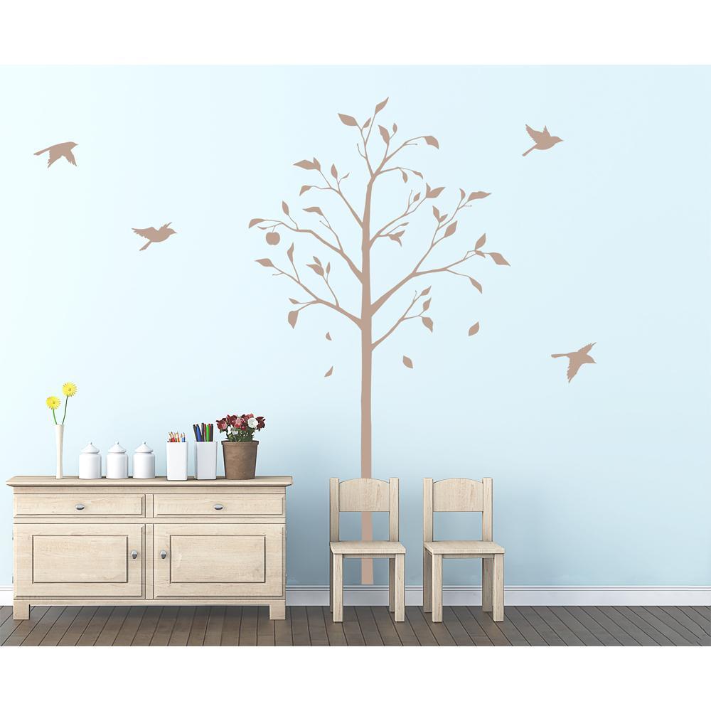 東京ステッカー ウォールステッカー 転写式 林檎の木と小鳥 ベージュ Lサイズ TS-0051-BL