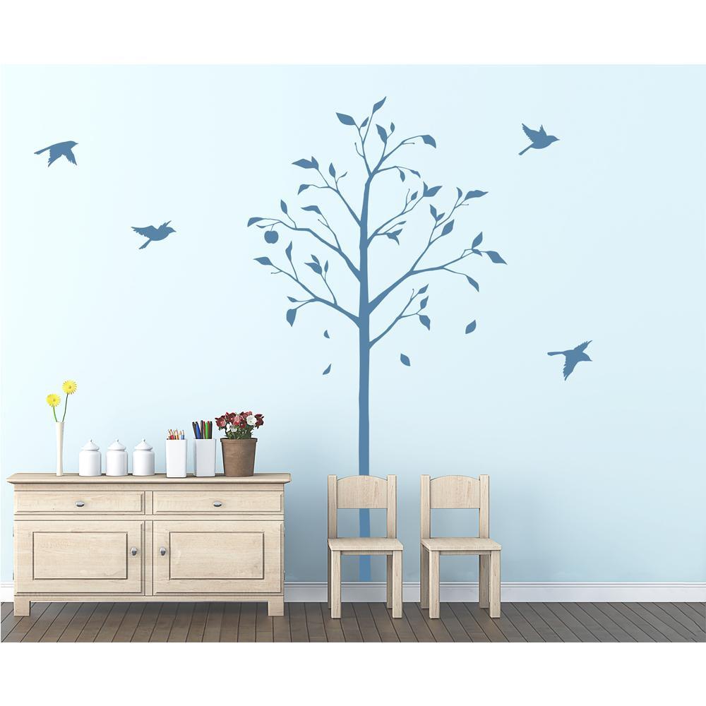 東京ステッカー ウォールステッカー 転写式 林檎の木と小鳥 ブルー Lサイズ TS-0051-DL