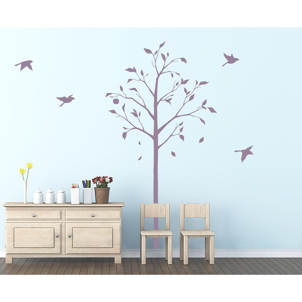 東京ステッカー ウォールステッカー 転写式 林檎の木と小鳥 パープル Lサイズ TS-0051-EL