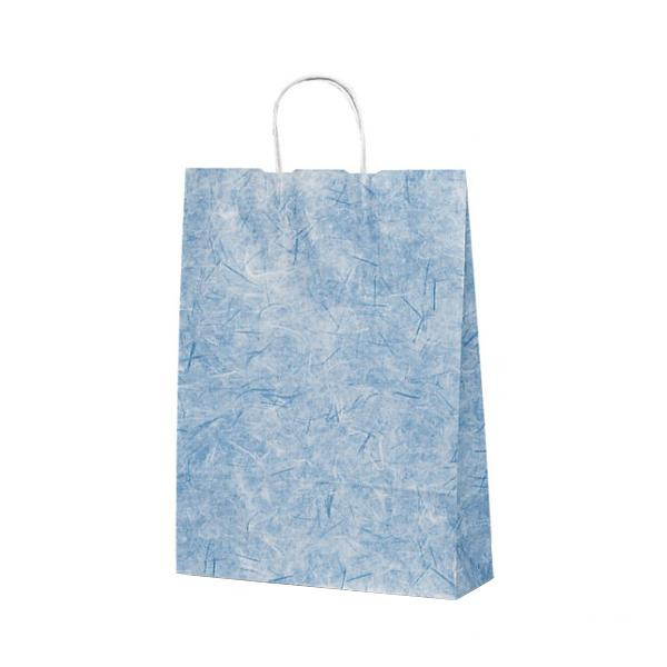 T-8 自動紐手提袋 紙袋 紙丸紐タイプ 320×110×430mm 200枚 彩流(紺) 1825手提げ お店 紙手提げ袋