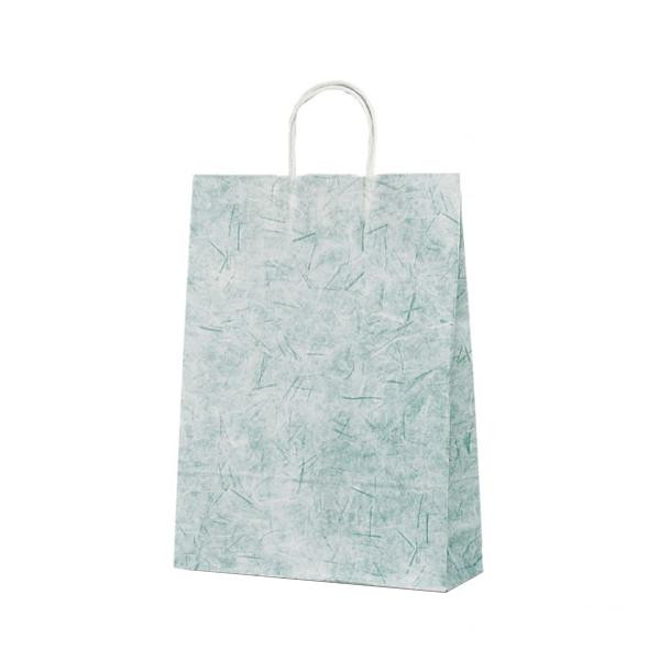 T-8 自動紐手提袋 紙袋 紙丸紐タイプ 320×110×430mm 200枚 彩流(緑) 1826【送料無料】