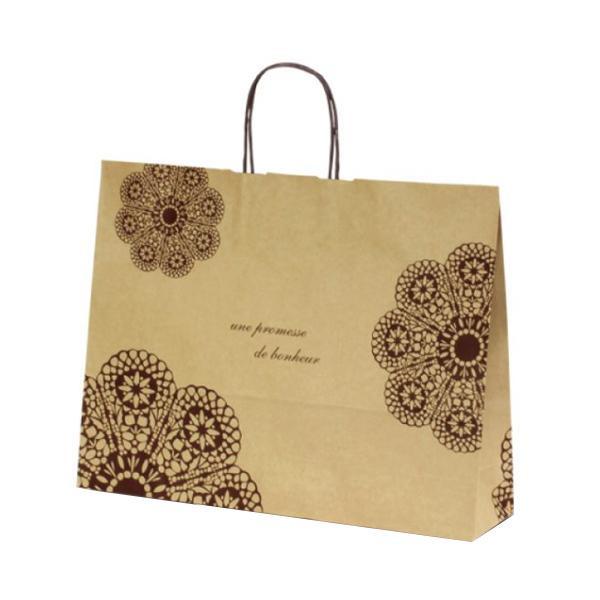 T-Y 自動紐手提袋 紙袋 紙丸紐タイプ 415×110×320mm 200枚 レースィ(茶) 1534業務用 紙手提げ袋 手提げ