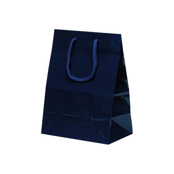 ミニバッグ 手提袋 190×110×250mm 100枚 ネイビー 1521手提げ 紙手提げ袋 ペーパーバッグ