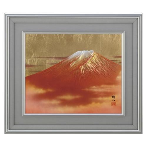 高岡銅器 彫金パネル 北晴山作 赤富士 145-02