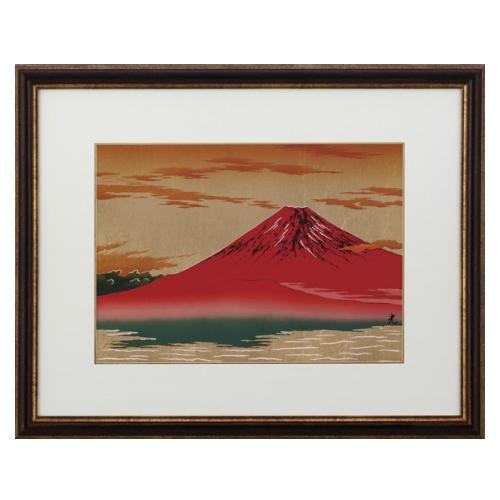 高岡銅器 彫金パネル 北光修作 朝焼富士(金箔アート) 145-07
