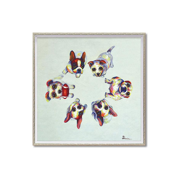 ユーパワー OIL PAINT ART オイル ペイント アート 「ドッグ サークル」 Mサイズ OP-18009【送料無料】