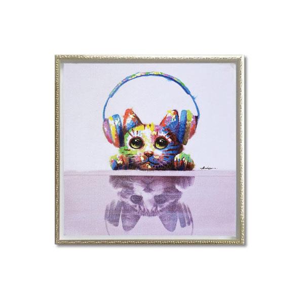 ユーパワー OIL PAINT ART オイル ペイント アート 「ミュージック キャット」 Mサイズ OP-18061【送料無料】