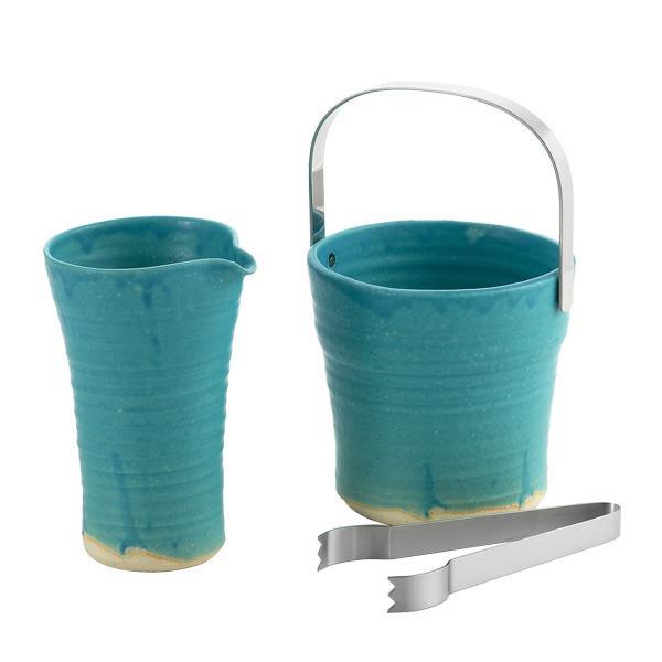 ターコイズブルーの色味が綺麗。 信楽焼 ターコイズブルー アイスペール&デキャンターセット トング付 TKB-002かわいい ウイスキー キッチン用品