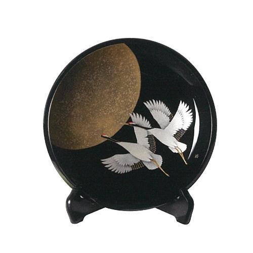 輪島塗 飾鉢 8寸 黒呂色 月に鶴沈金 WA1-4