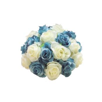 アーティフィシャルフラワー ローズハーフボール ブルー 24ヶセット FD4301 アレンジメント