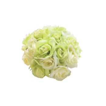 アーティフィシャルフラワー ローズハーフボール ホワイト/グリーン 24ヶセット FD4301 アレンジメント