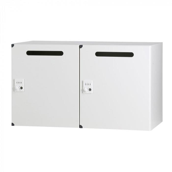 豊國工業 パーソナルロッカー(2列1段)H525 ダイヤル錠 開口付 棚板付 ホワイト HOS-PDAT5252C-W BN-90色(ホワイト)