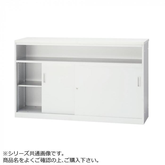 豊國工業 ハイカウンター引戸・中棚型(木天板)W1200 CT-H12T メラミン:PR-TYW EG(ホワイトG) エッジ:SC40-3005(ホワイトG)