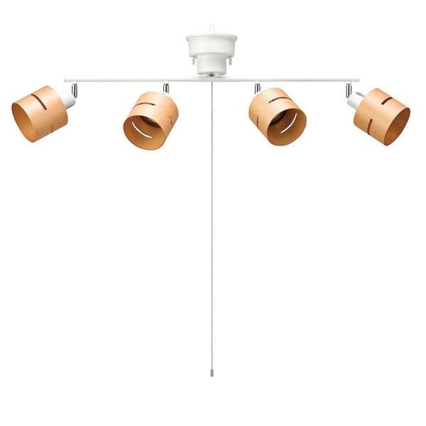 YAZAWA(ヤザワコーポレーション) 4灯ウッドセードシーリング ナチュラル E26 電球なし CEX60X01NA