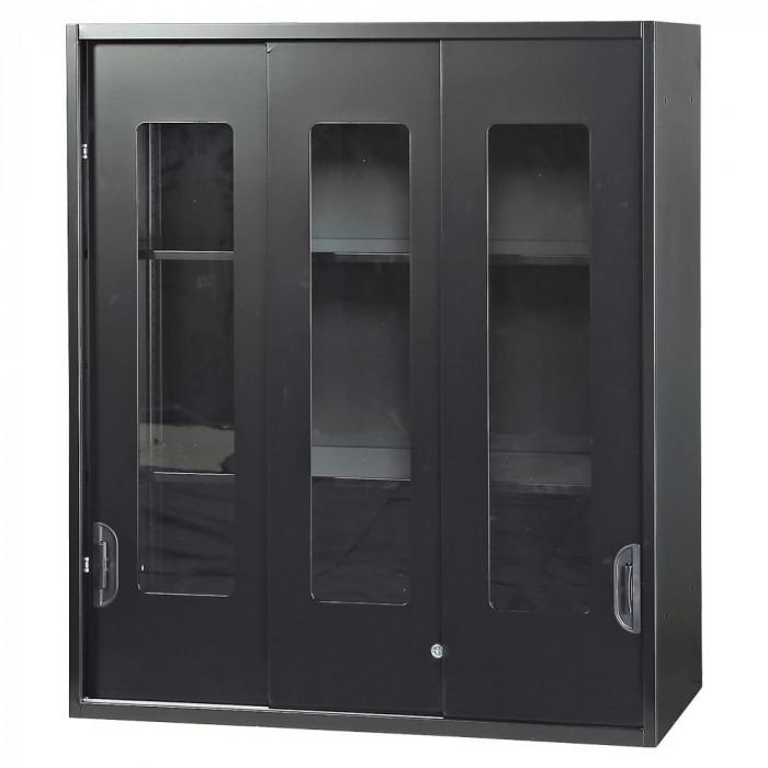 豊國工業 壁面収納庫深型3枚引違いガラス扉 ブラック HOS-HKG3NN-B CN-10色(ブラック)