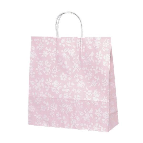 T-6 自動紐手提袋 紙袋 紙丸紐タイプ 320×110×330mm 200枚 カレン(ピンク) 1602