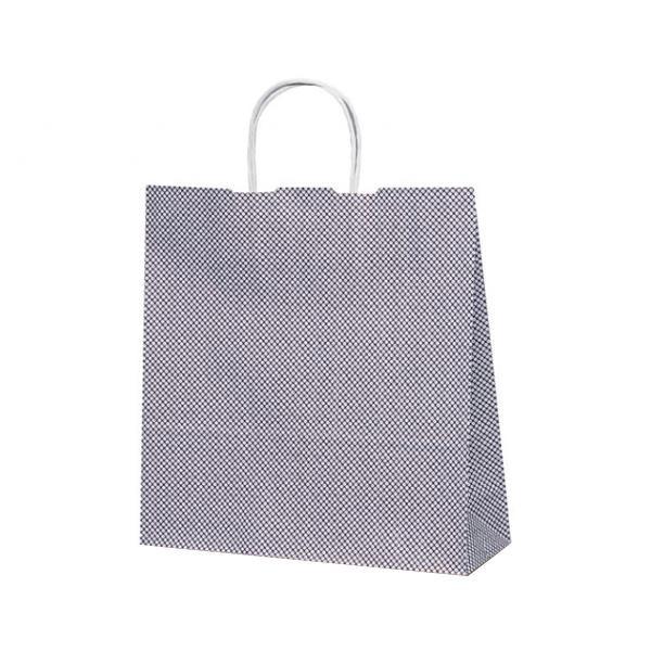 T-6 自動紐手提袋 紙袋 紙丸紐タイプ 320×110×330mm 200枚 鹿の子(紫) 1679