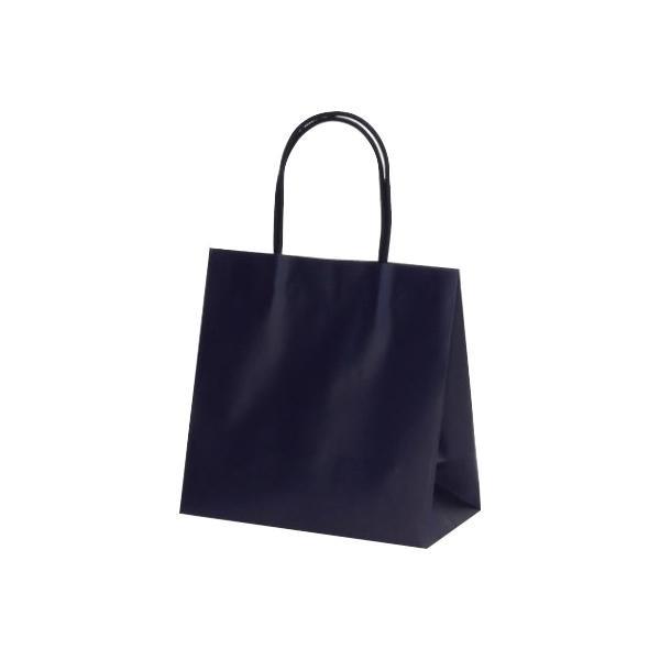 マットバッグ(SS) 手提袋 220×120×220mm 100枚 ネイビー 1077紙手提げ袋 ペーパーバッグ 業務用