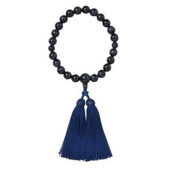 京・六条 彩や 日本製数珠 男性用 青虎目石 ネイビー 951541322010