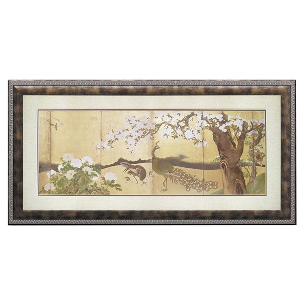 ユーパワー 狩野 山雪「桜と孔雀」 WA-20002壁掛け アート 額