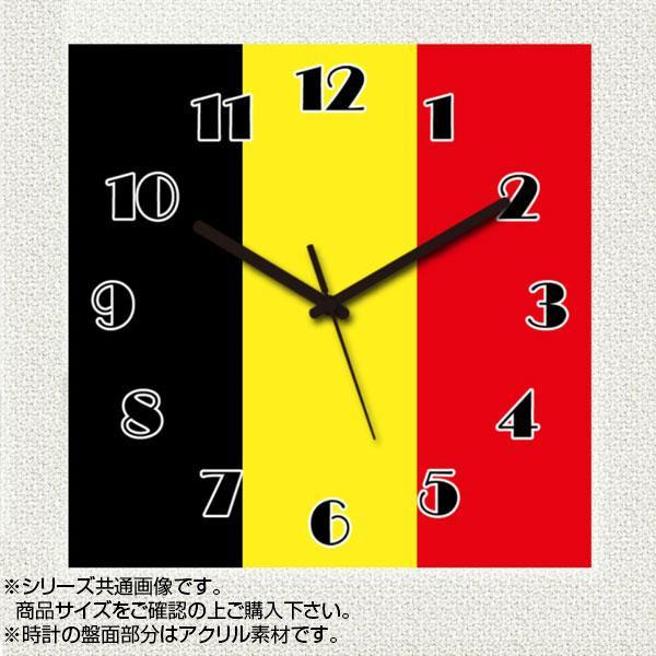 MYCLO(マイクロ) 壁掛け時計 アクリル素材(クリア) 四角 23cm 国旗 ベルギー(BELGIUM) com240【送料無料】