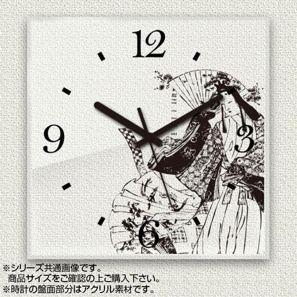 MYCLO(マイクロ) 壁掛け時計 アクリル素材(クリア) 四角 30cm 和風デザイン 日本画 com323【送料無料】