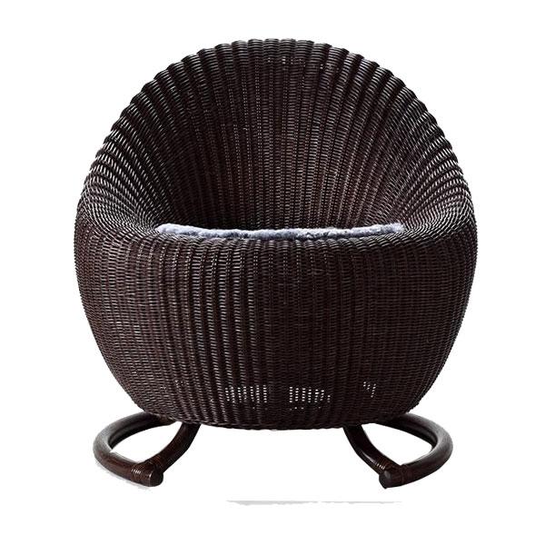 籐ならではのしなやかさと座り心地。360度回転機能付チェア。 Ever Graceエバーグレース ラウンドチェア(ムートンクッション付き) EGR01【送料無料】